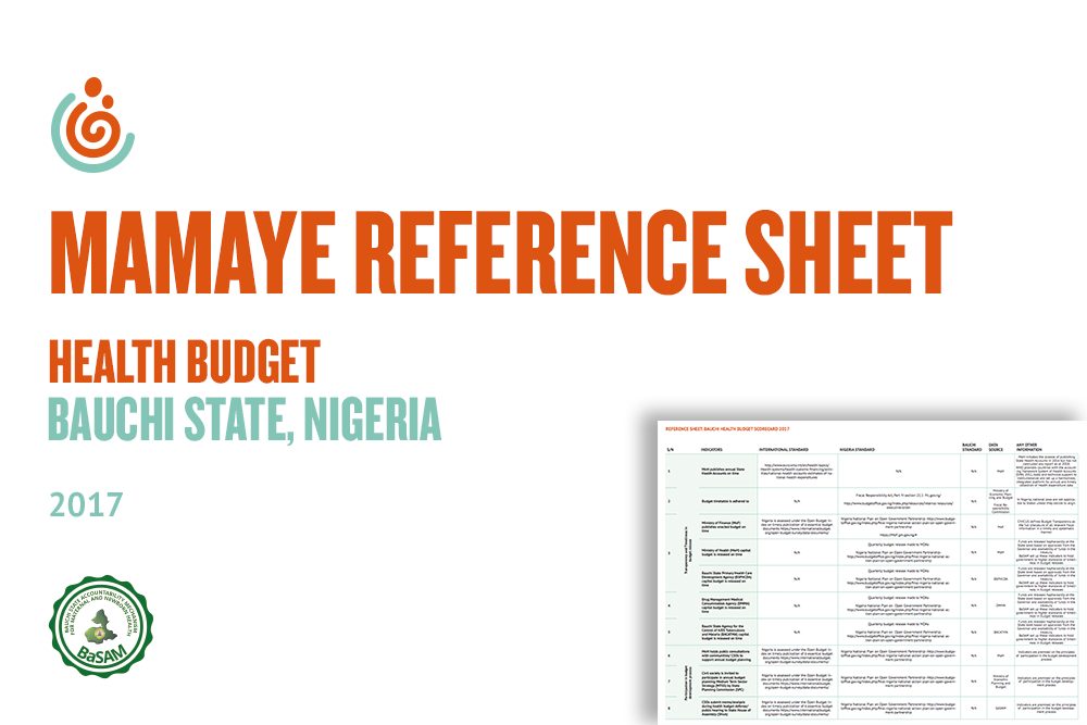 BAUCHI STATE HEALTH BUDGET SCORECARD REFERENCE SHEET